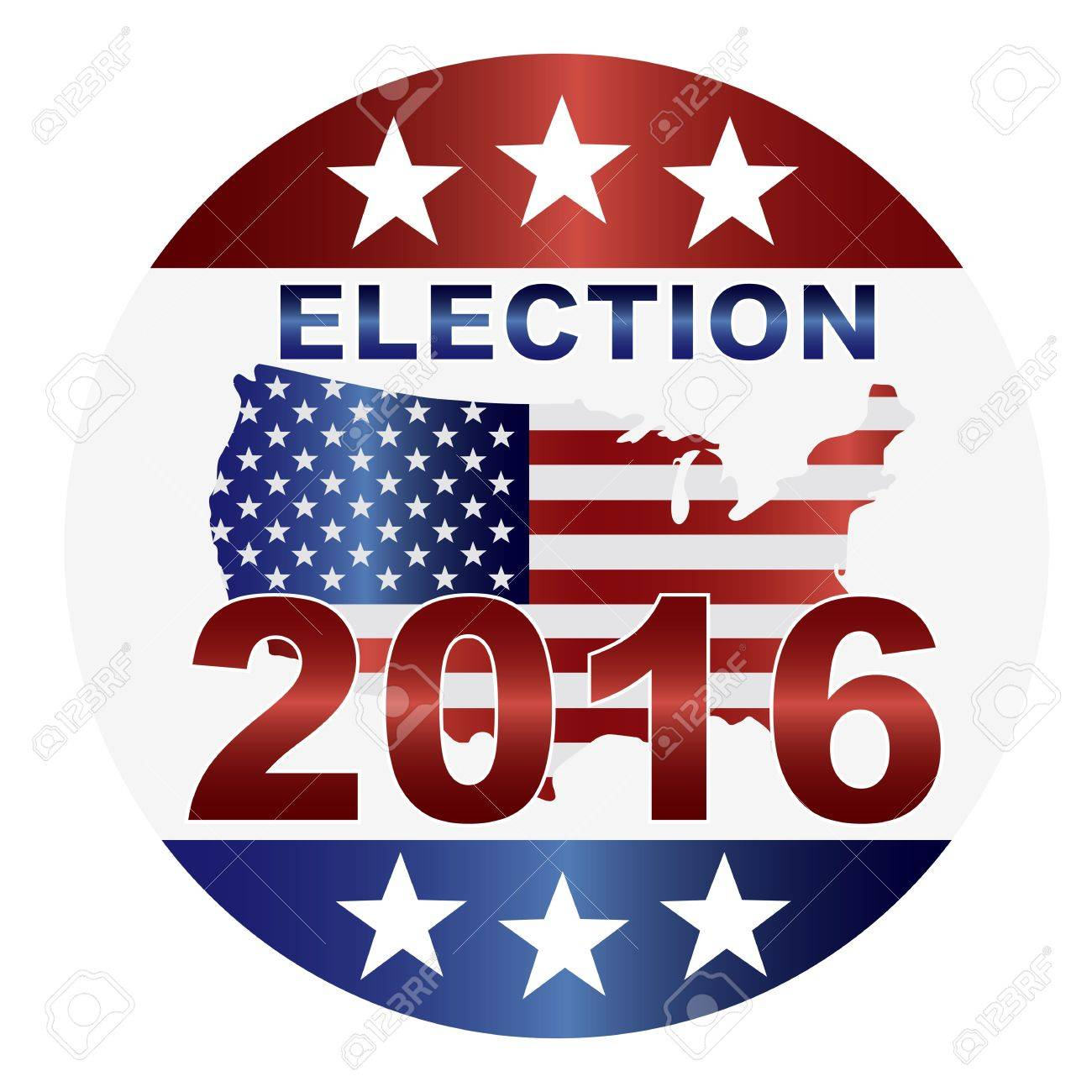 Election 2016 with USA Flag in Map Silhouette Illustration Stock Vector - 19380689