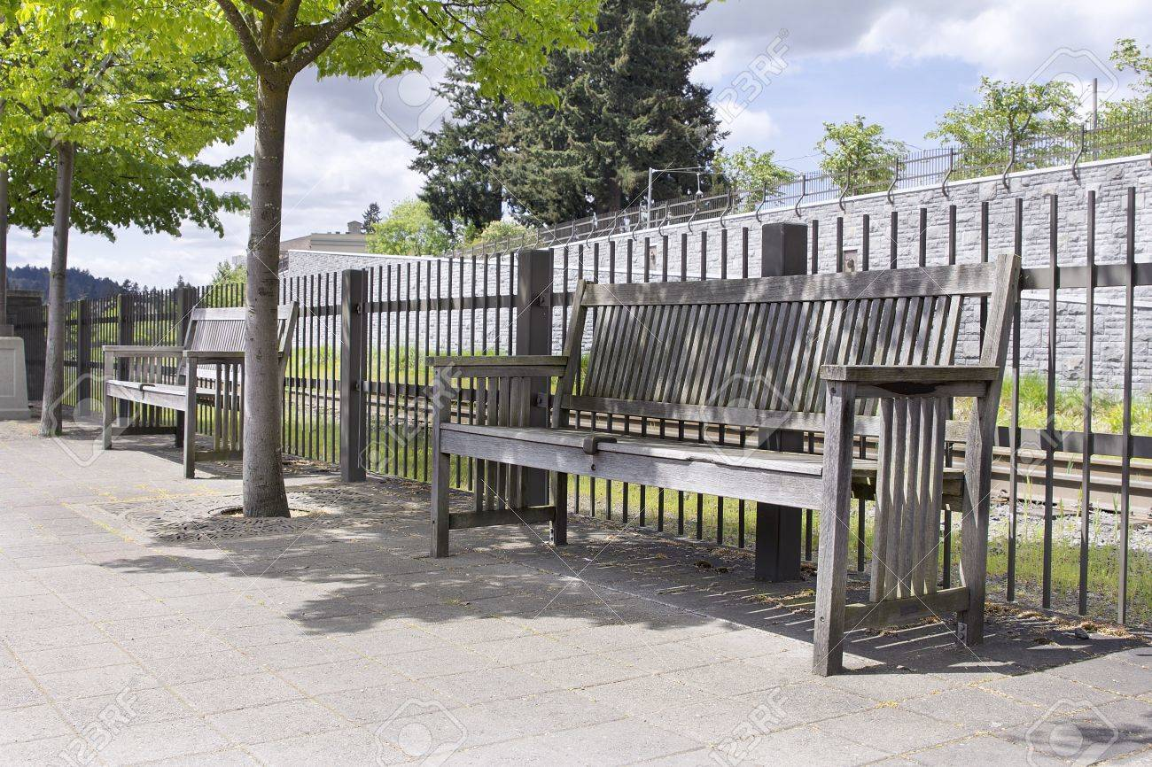 Public Park Benches Part - 31: Wooden Park Benches Under The Trees In Public Parks Stock Photo - 19380704