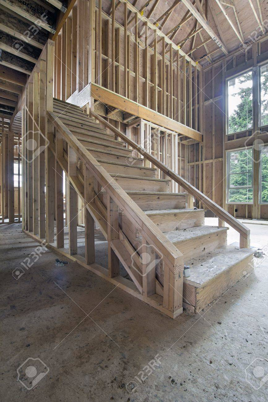 Stock Photo   Wood Stud Framing For Staircase In New House Construction