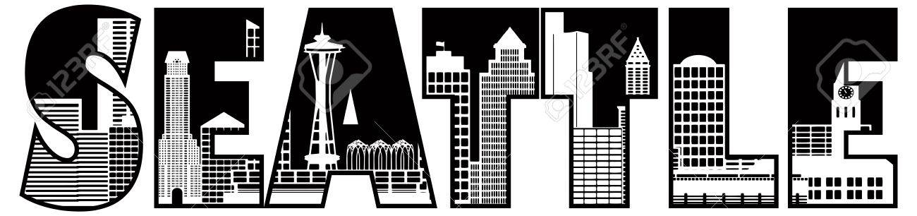 Seattle Skyline Outline Drawing Seattle Washington City