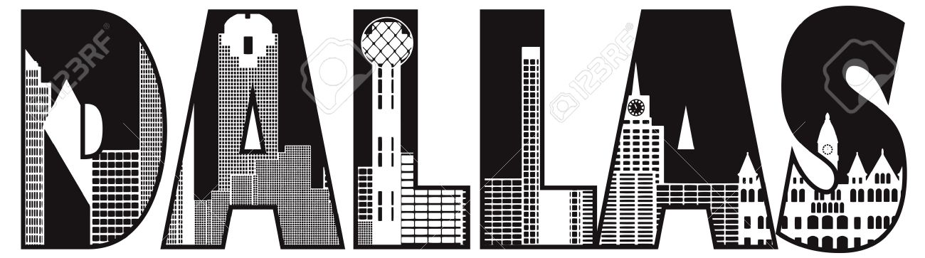 dallas texas city skyline text outline black and white silhouette