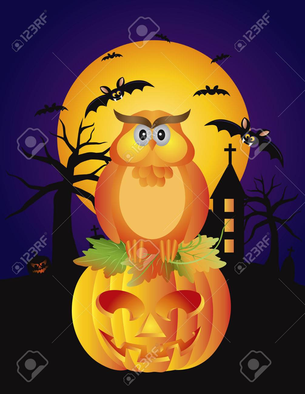 Happy Halloween Orange Fall Color Cartoon Owl Sitting On Jack ...