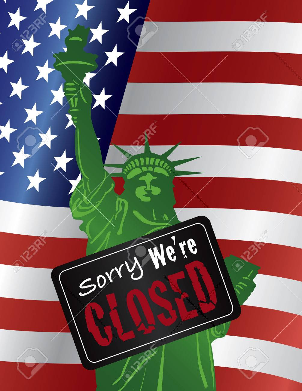 Government Shutdown Statue of Liberty Closeup with Sorry We Are Closed Sign on USA American Flag Stock Vector - 22706986