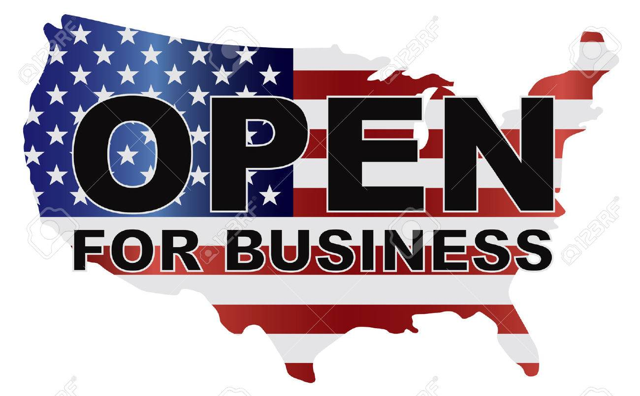 Government Shutdown Open For Business Text Outline With American - Usa country map outline