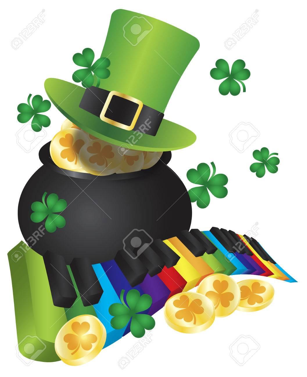 st patricks day leprechaun hat with rainbow colors piano wavy
