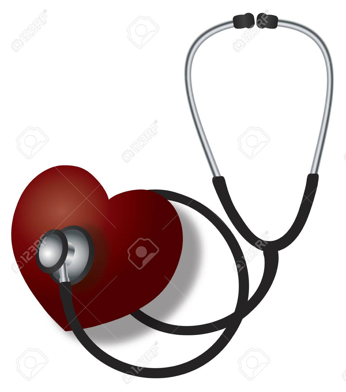 Stethoscope Medical Device Listening to Red Heart Beat on White Background Illustration Stock Vector - 23645154