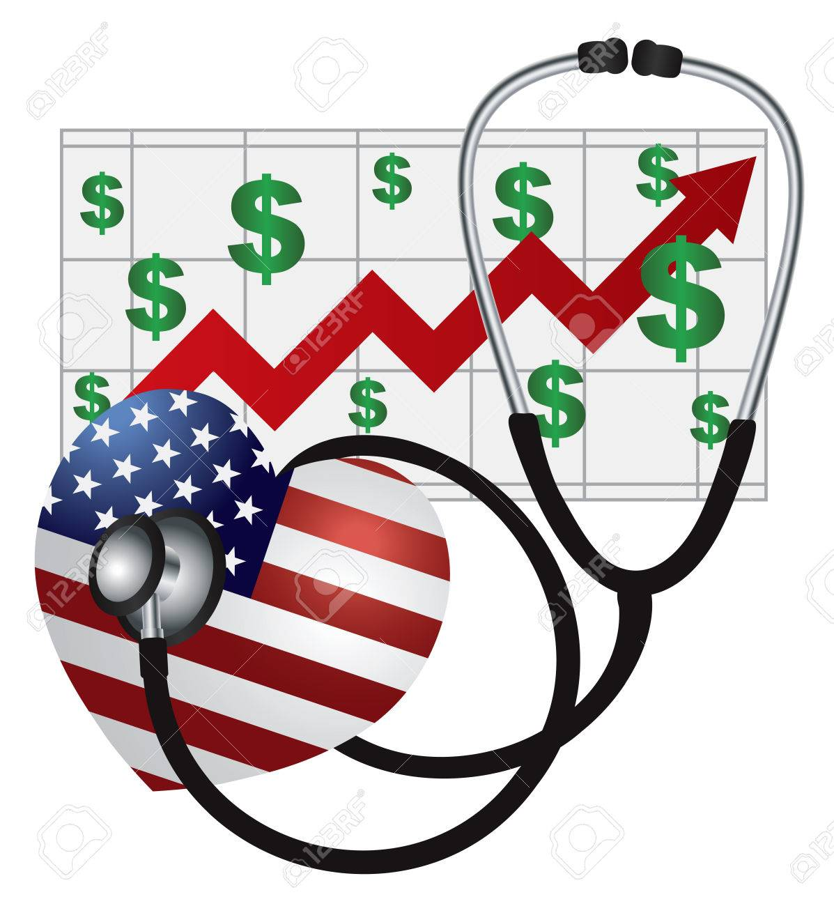 Stethoscope Medical Device Listening to USA Flag Heartbeat with Health Cost Rising Chart on White Background Illustration Stock Vector - 23848222
