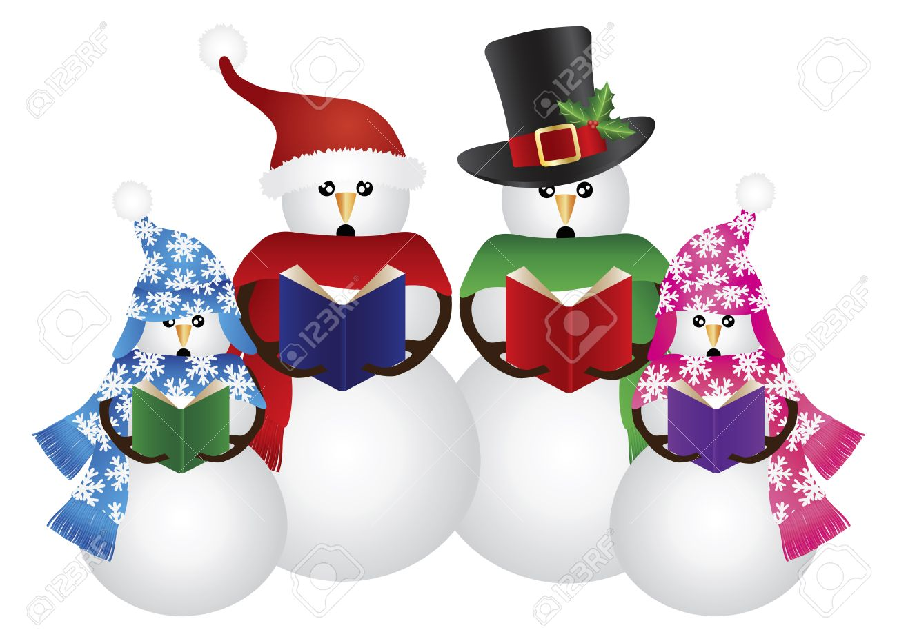 Snowman Family Christmas Carolers With Hat And Scarf Isolated On White Background Illustration Stock Vector