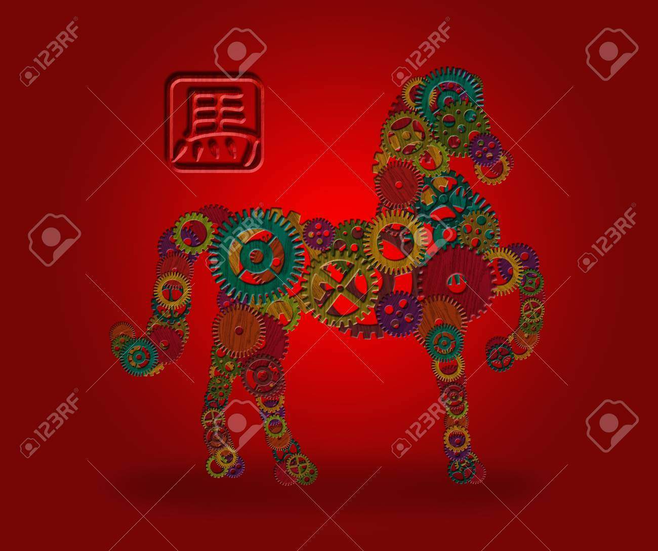 2014 chinese lunar new year of the horse wood gear element forward pose silhouette with horse - Chinese New Year 2014