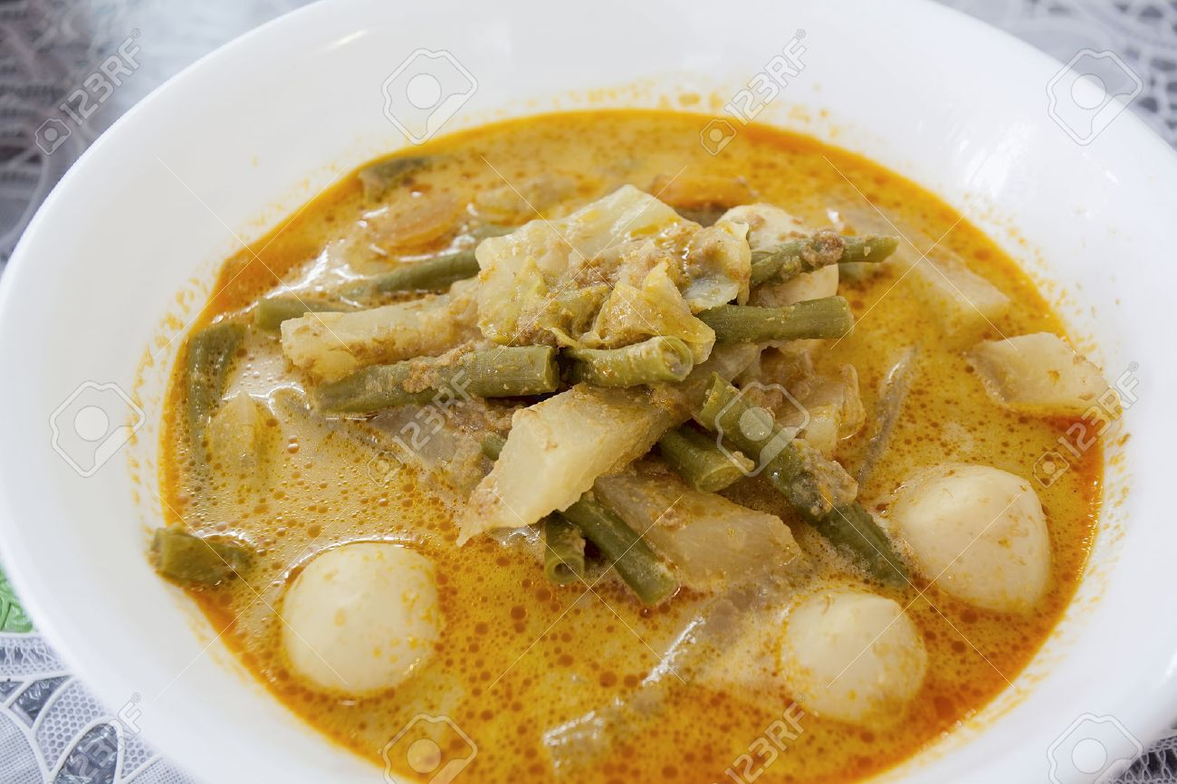 Lontong Sayur Lodeh Indonesian Gravy Dish With Cabbage String