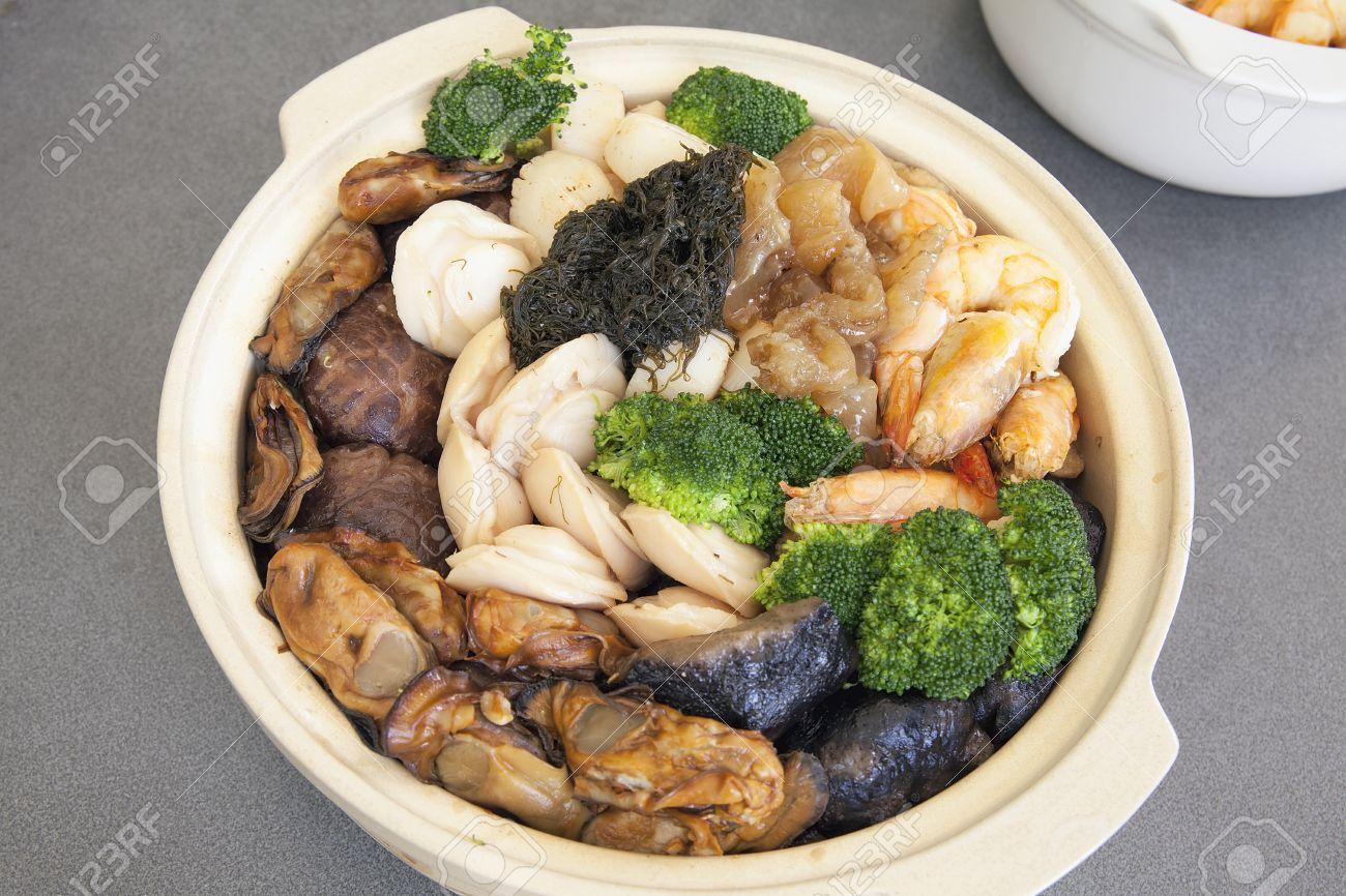 Poon Choi Hong Kong Kantonesisch Küche Big Feast Schüssel Mit ...