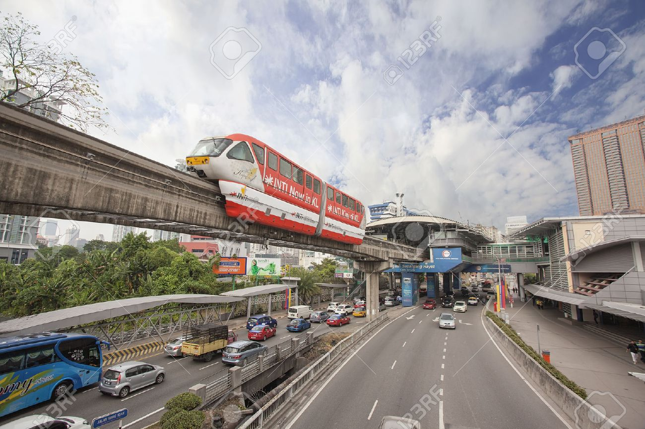 KUALA LUMPUR, MALAYSIA - FEBRUARY 7, 2014: Kuala Lumpur Monorail Transportation System in Downtown KL Malaysia. The monorail is one of the several train systems in Kuala Lumpur. - 26389946