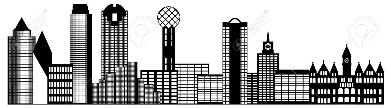 dallas texas city skyline outline black and white silhouette