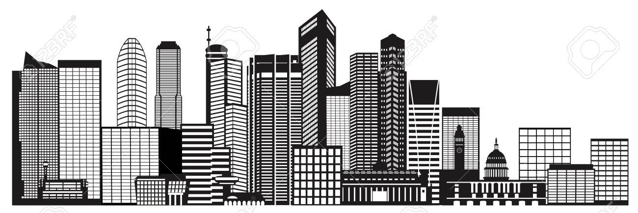 Singapore City Skyline Silhouette Outline Panorama Black Isolated on White Background Illustration - 30686087