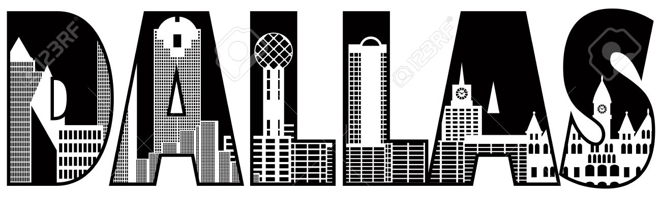 dallas texas city skyline text outline black silhouette isolated