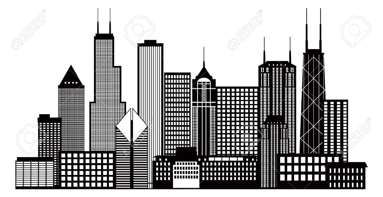 Chicago Skyline Drawings Chicago City Skyline Panorama