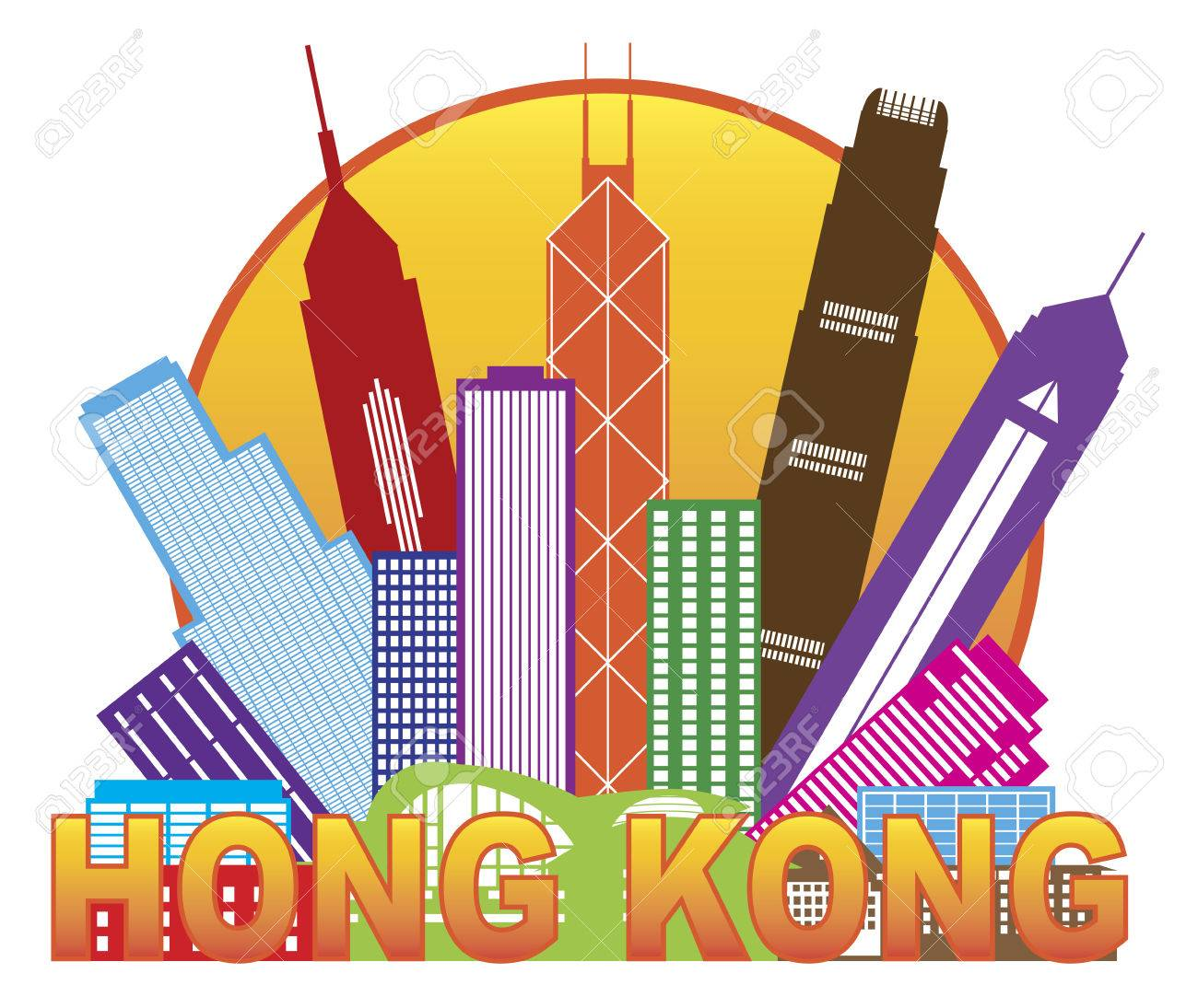 Hong Kong City Skyline in Circle Color Outline Isolated on White Background Illustration - 31404656