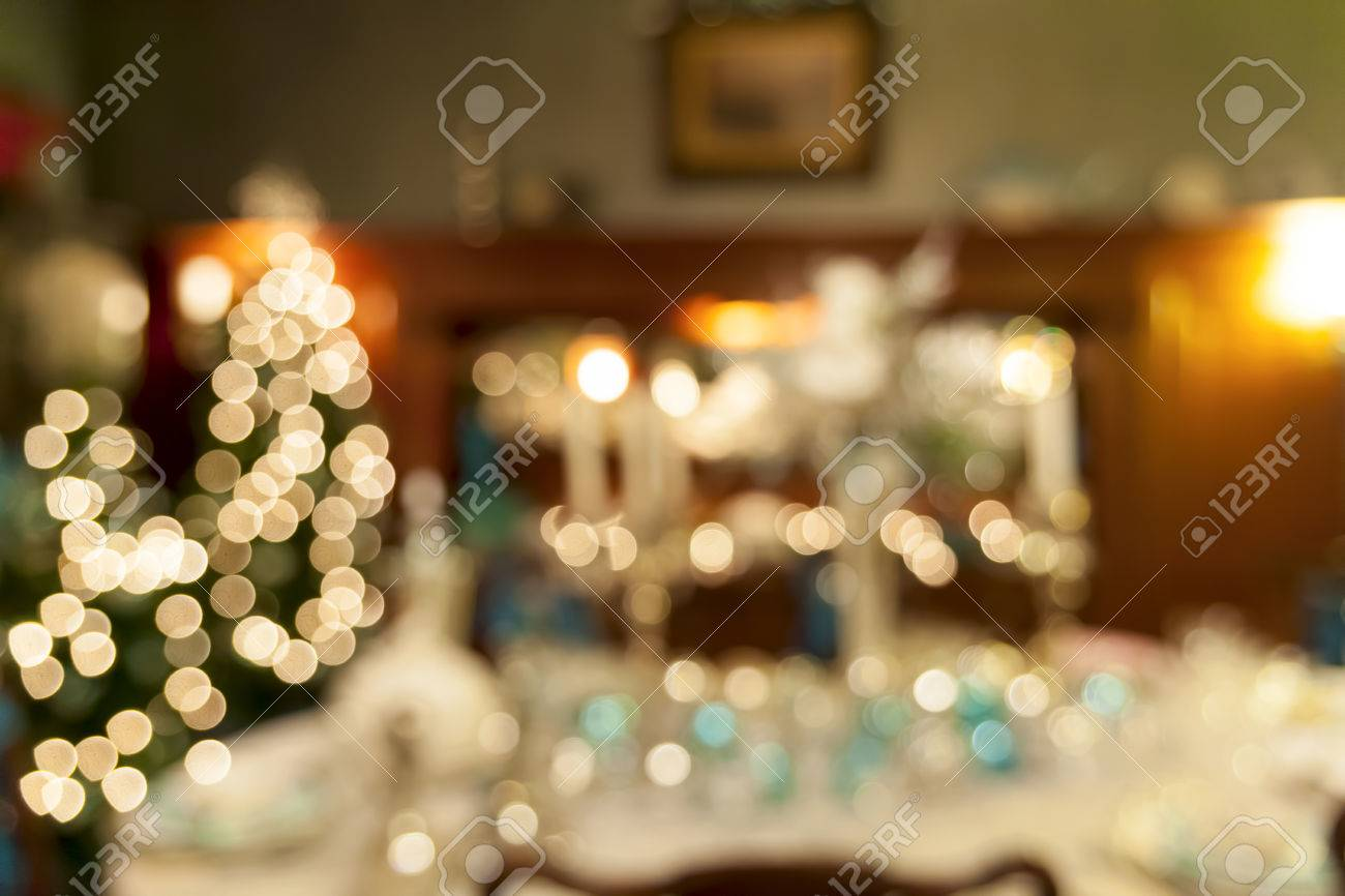 Christmas Day Celebration.Christmas Day Holiday Celebration Dinner Table Decorations Blurred