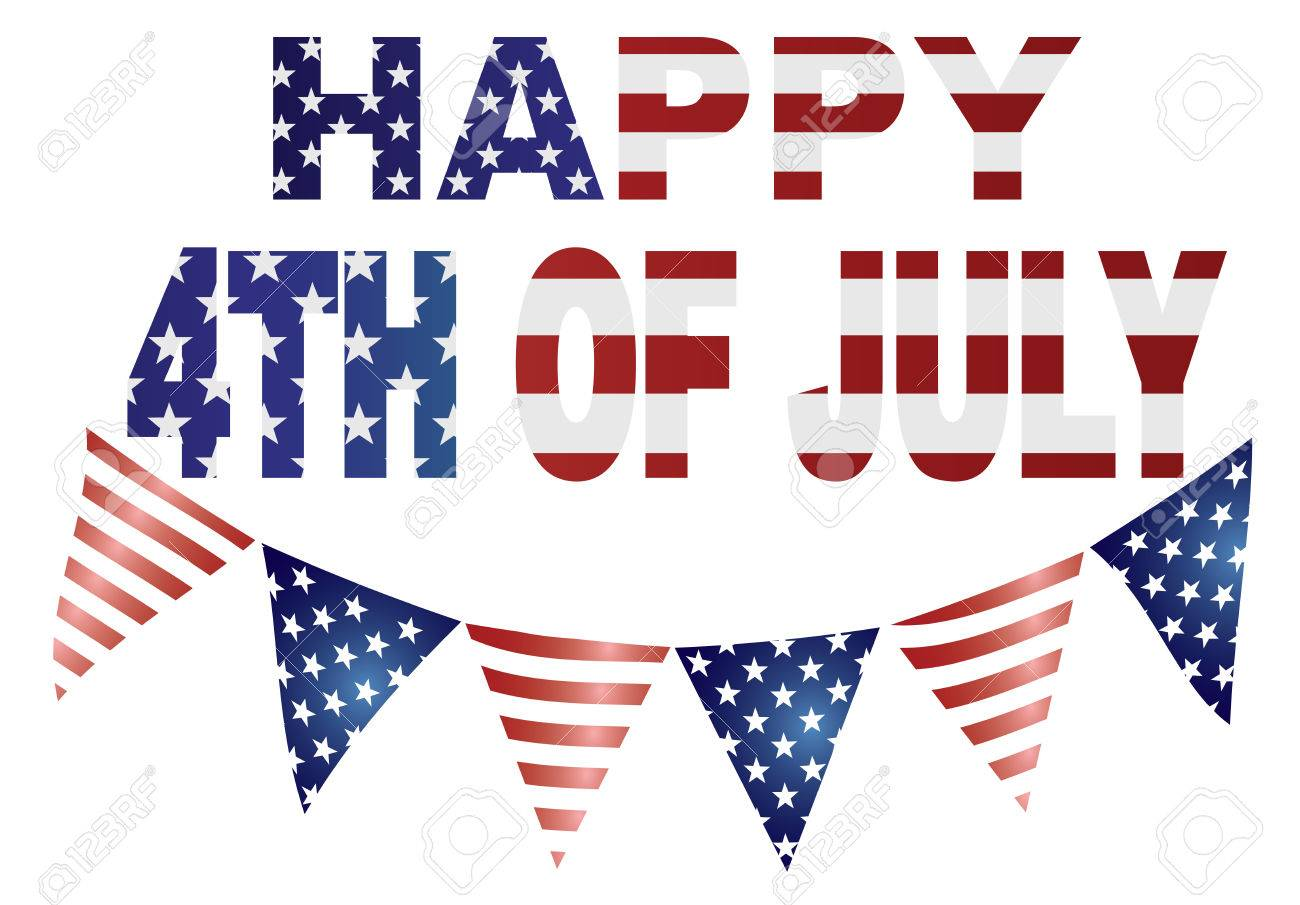 Happy 4th of July Independence Day with Triagular Banner Flags with USA Red White Blue Stars and Stripes Illustration - 41438035