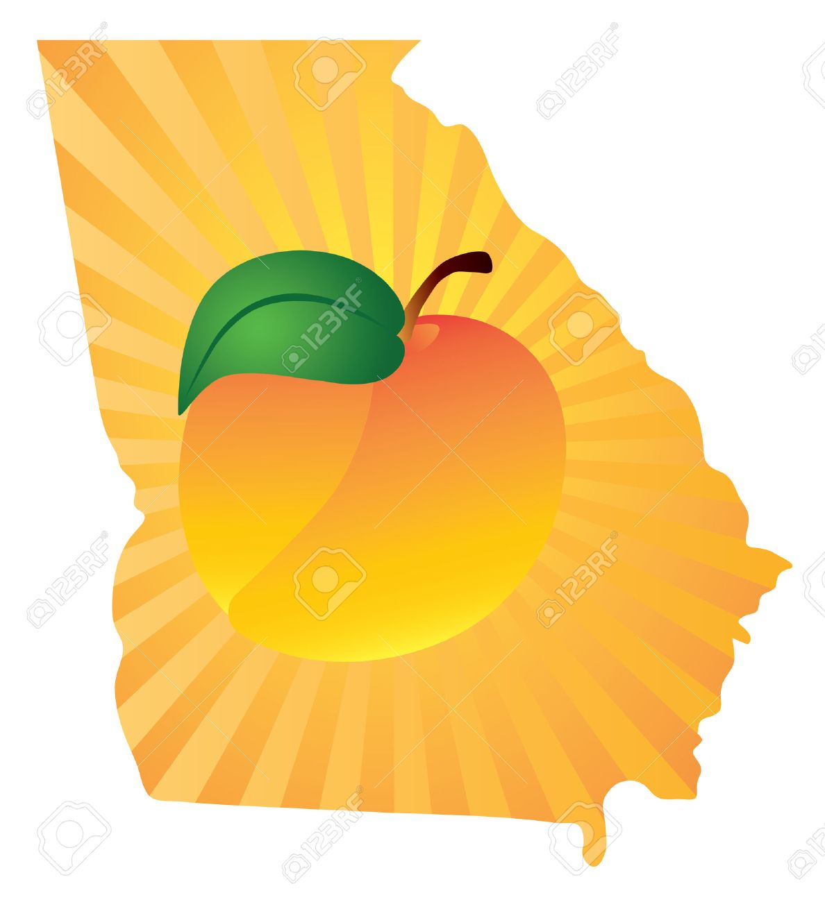 Georgia State With Official Symbol Peach Fruit In Map Silhouette - Ga map vector