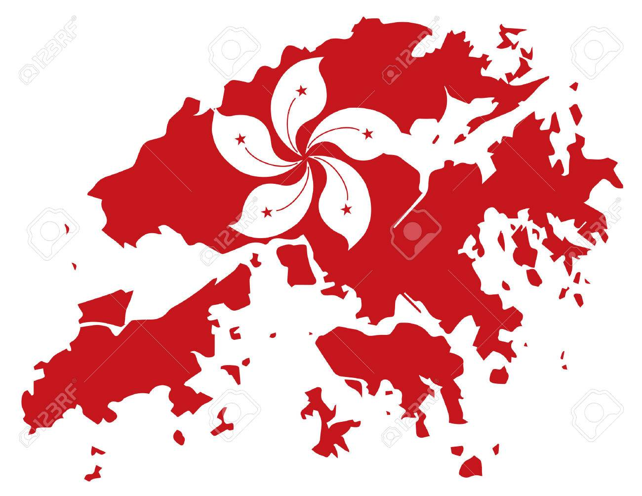 Hong Kong Flag Map Hong Kong Flag In Red Map Outline Silhouette Illustration Royalty