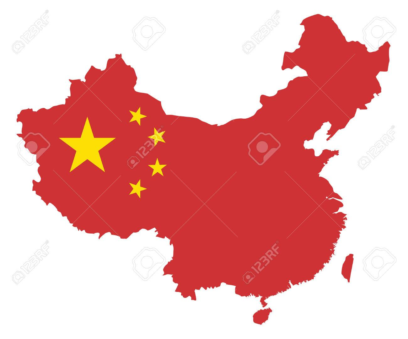 Peoples Republic Of China Flag In Map Outline Silhouette Isolated - Peoples republic map