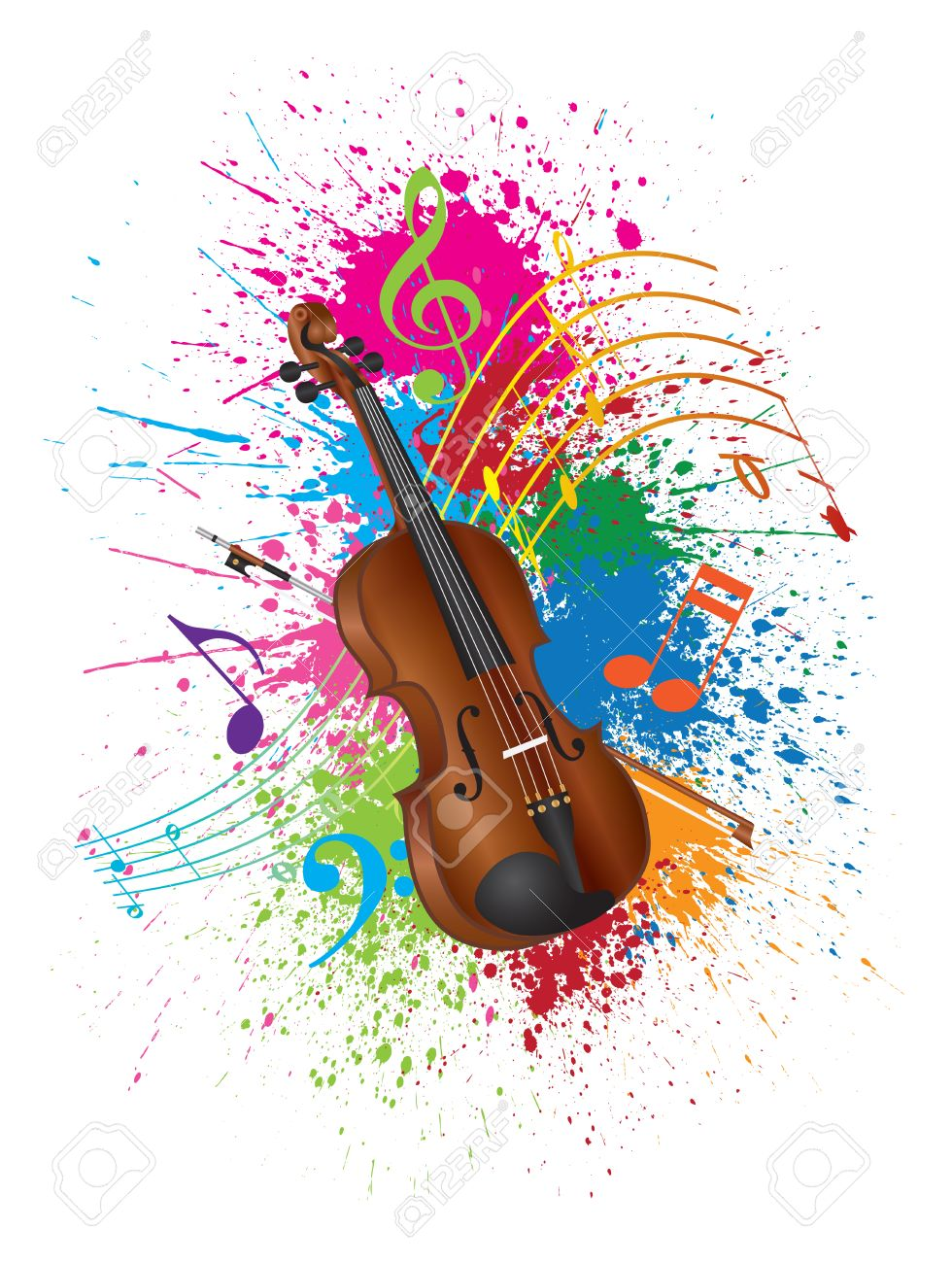 violin with bow and paint splatter abstract color isolated on