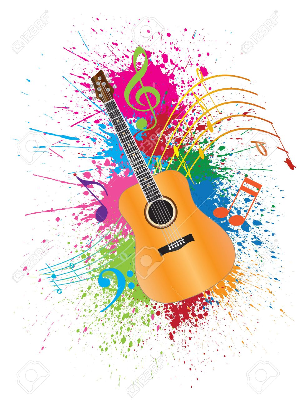 Acoustic Guitar With Musical Notes And Paint Splatter Abstract