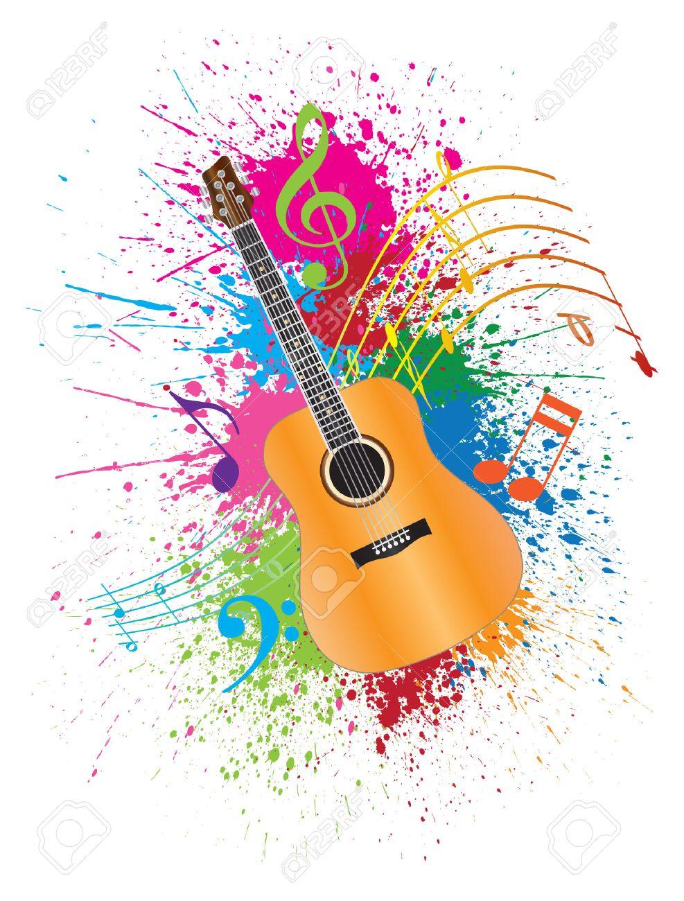Guitare Acoustique Avec Les Notes De Musique Et De Peinture Illustration Splatter Resume Effet De Couleur Clip Art Libres De Droits Vecteurs Et Illustration Image 46079067