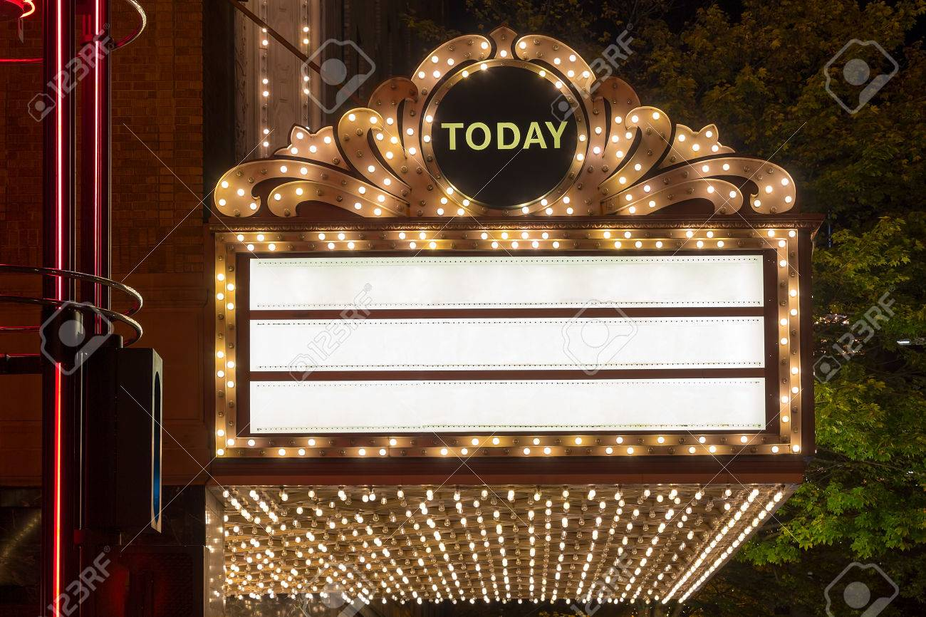 marquee lights on broadway theater exterior blank stock photo