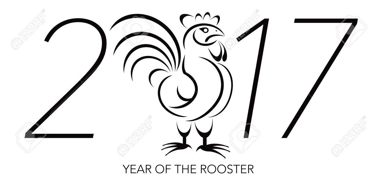 Colouring sheets chinese new year 2017 - Chinese Lunar New Year Of The Rooster Black And White Line Art With 2017 Numerals Illustration