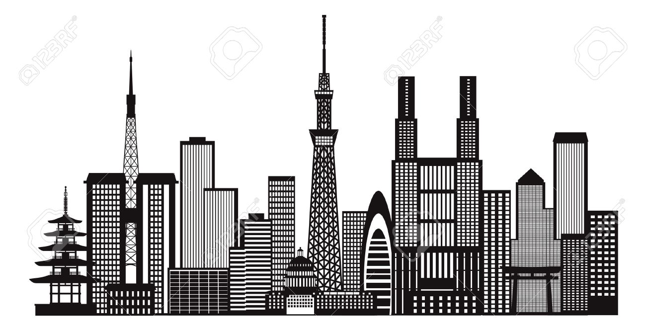 Tokyo japan city skyline panorama black and white silhouette outline illustration stock vector 52128120