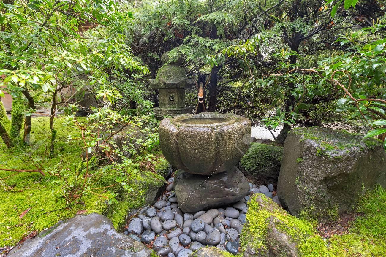 tsukubai wasser-brunnen mit bambus kakeki und steinlaterne am
