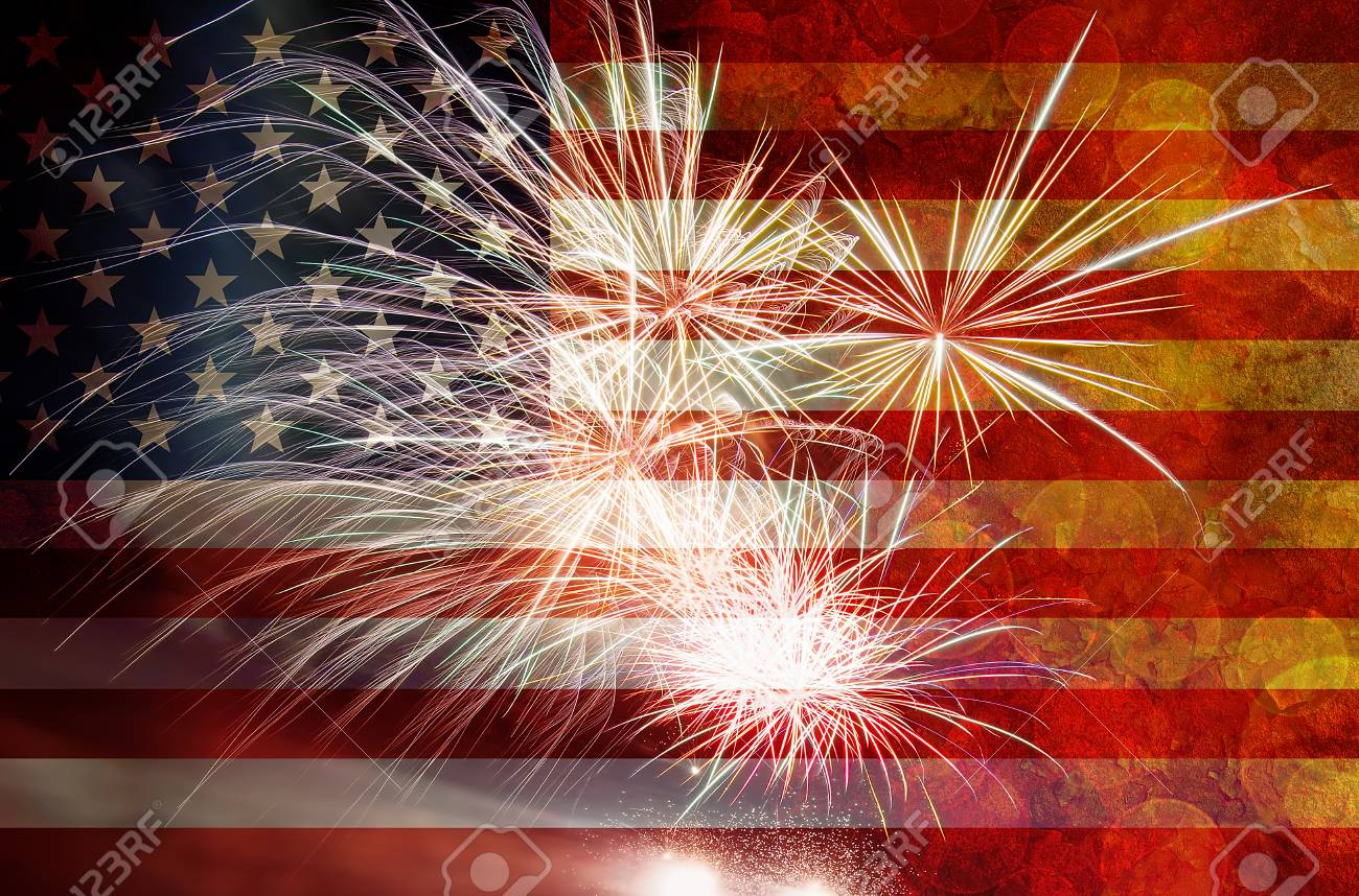 stock photo united states of america usa flag with fireworks grunge texture background for 4th of july independence day