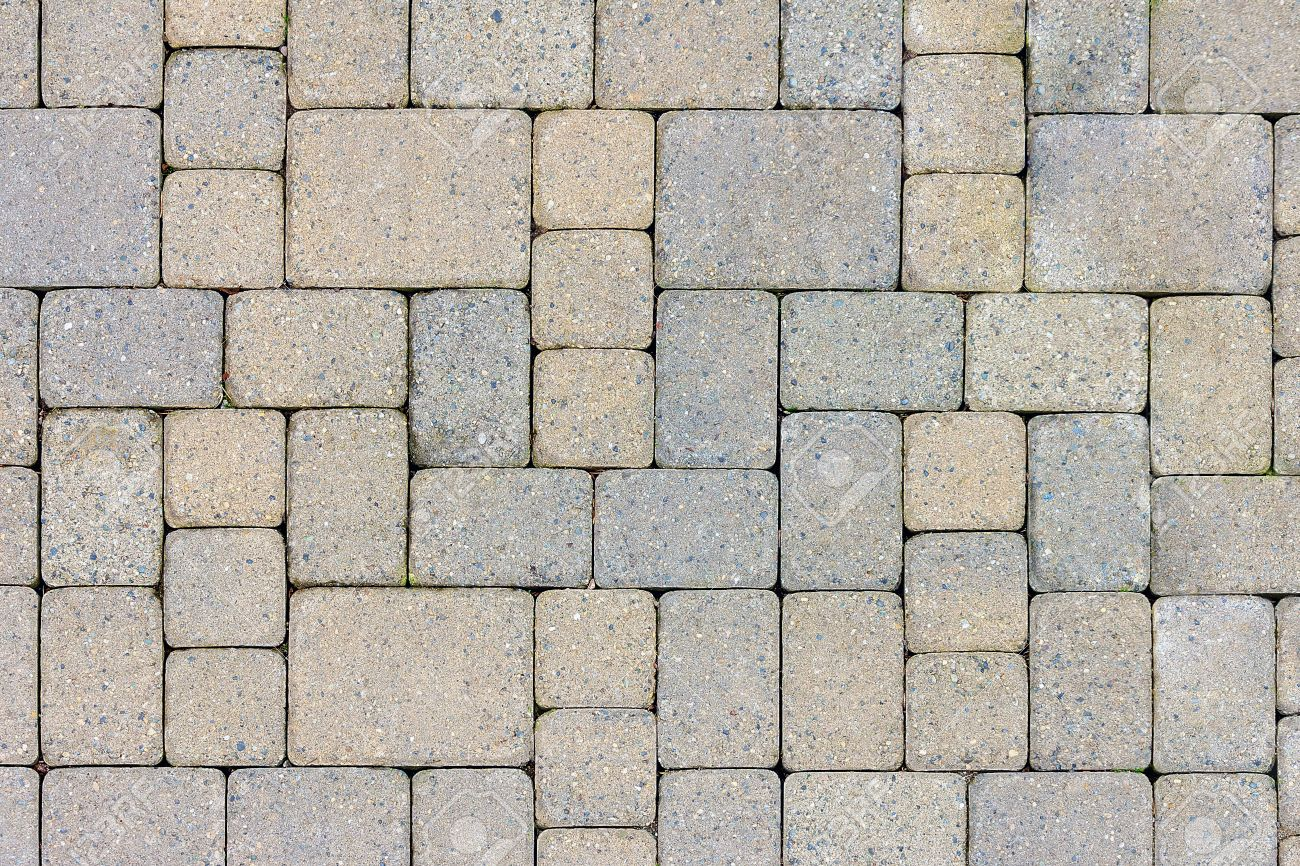 garden patio in backyard stone brick pavers hardscape layout stock