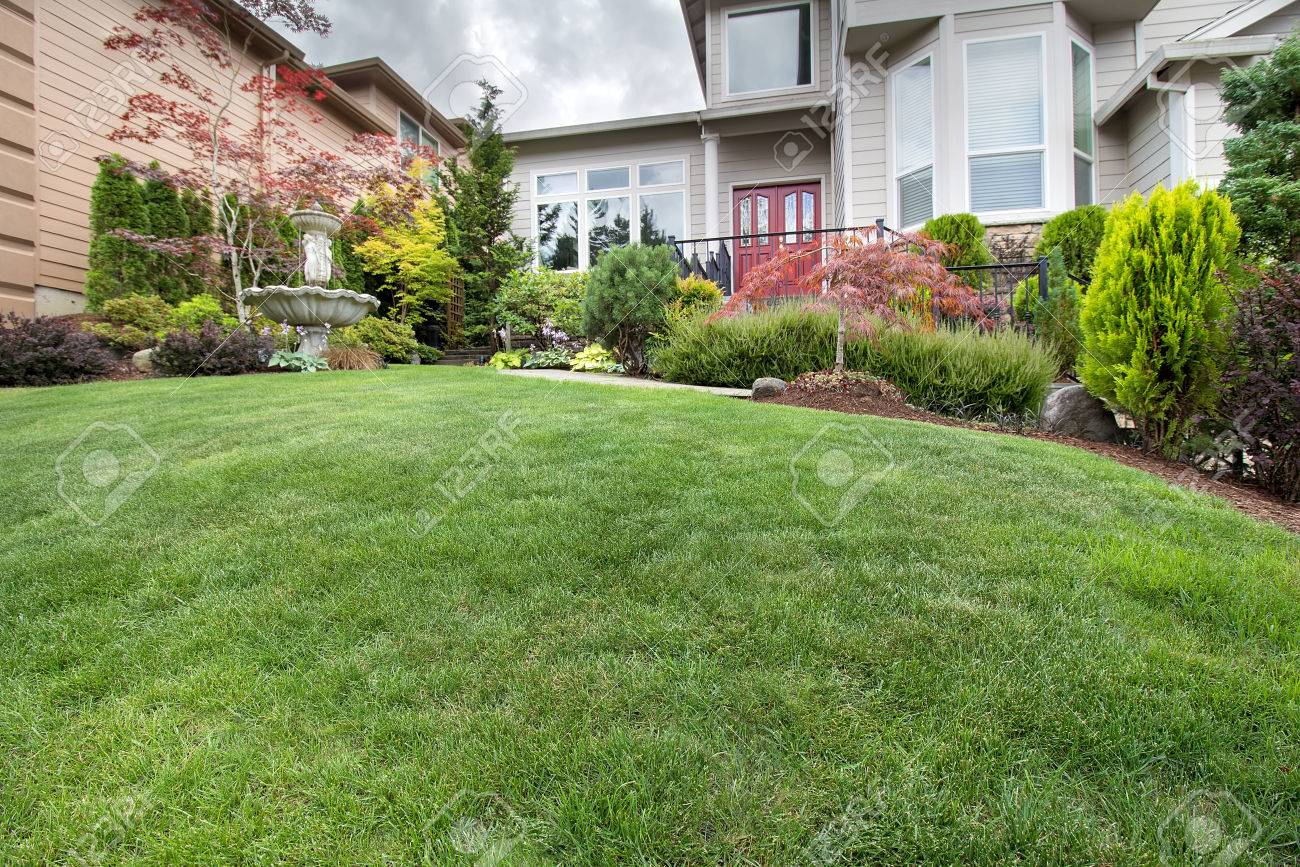 Green Grass Lawn In House Front Yard Manicured Garden With Water Fountain  Trees Plant Shrubs Rocks