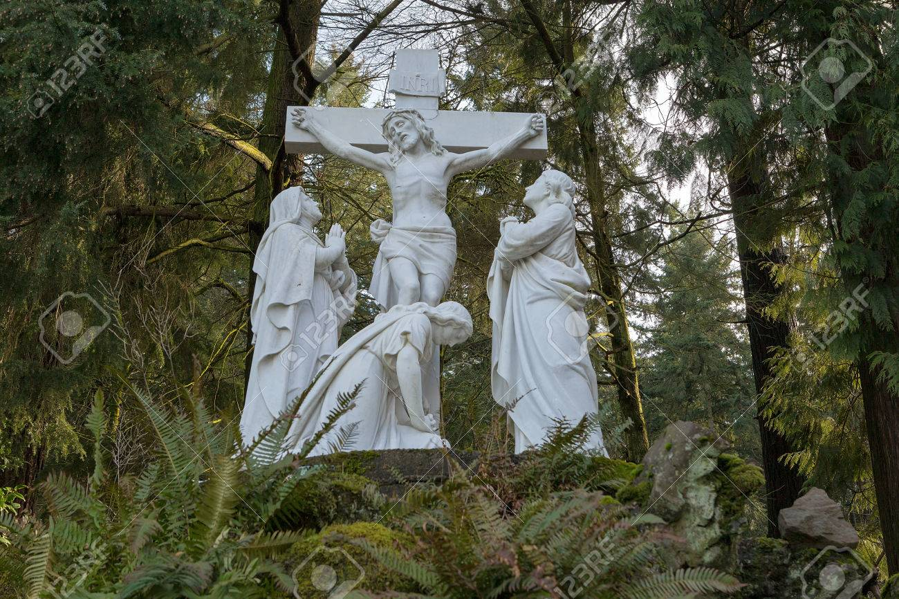 Jesus Christ Nailed To The Cross With Mother Mary Marble Statue ...