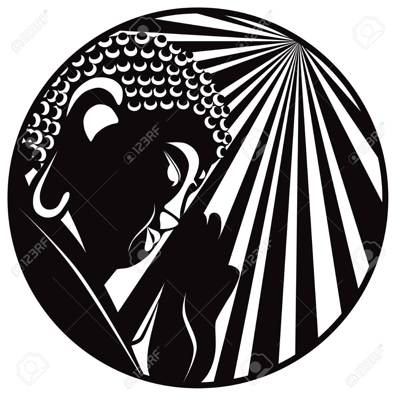 Buddha With Raised Hand Palm And Sun Light Rays In Circle Border