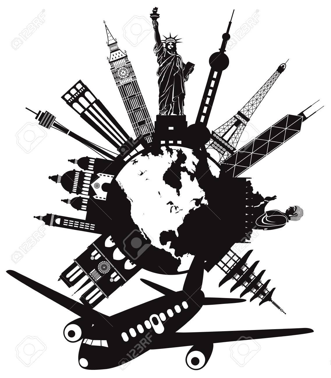 Travel Around The World By Airplane With Landmarks On Round Globe Black And White Illustration Stock