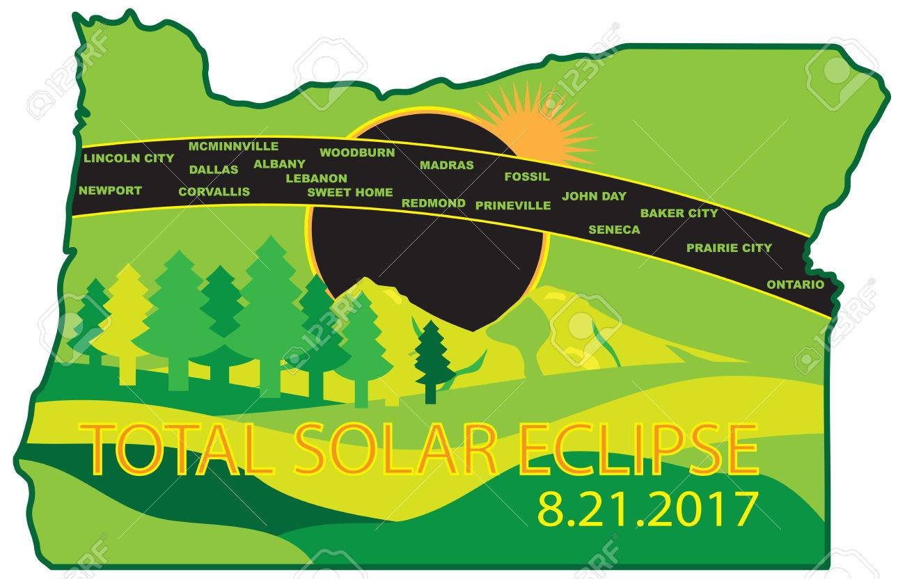 2017 Total Solar Eclipse Path Across Oregon State Cities Map ... on