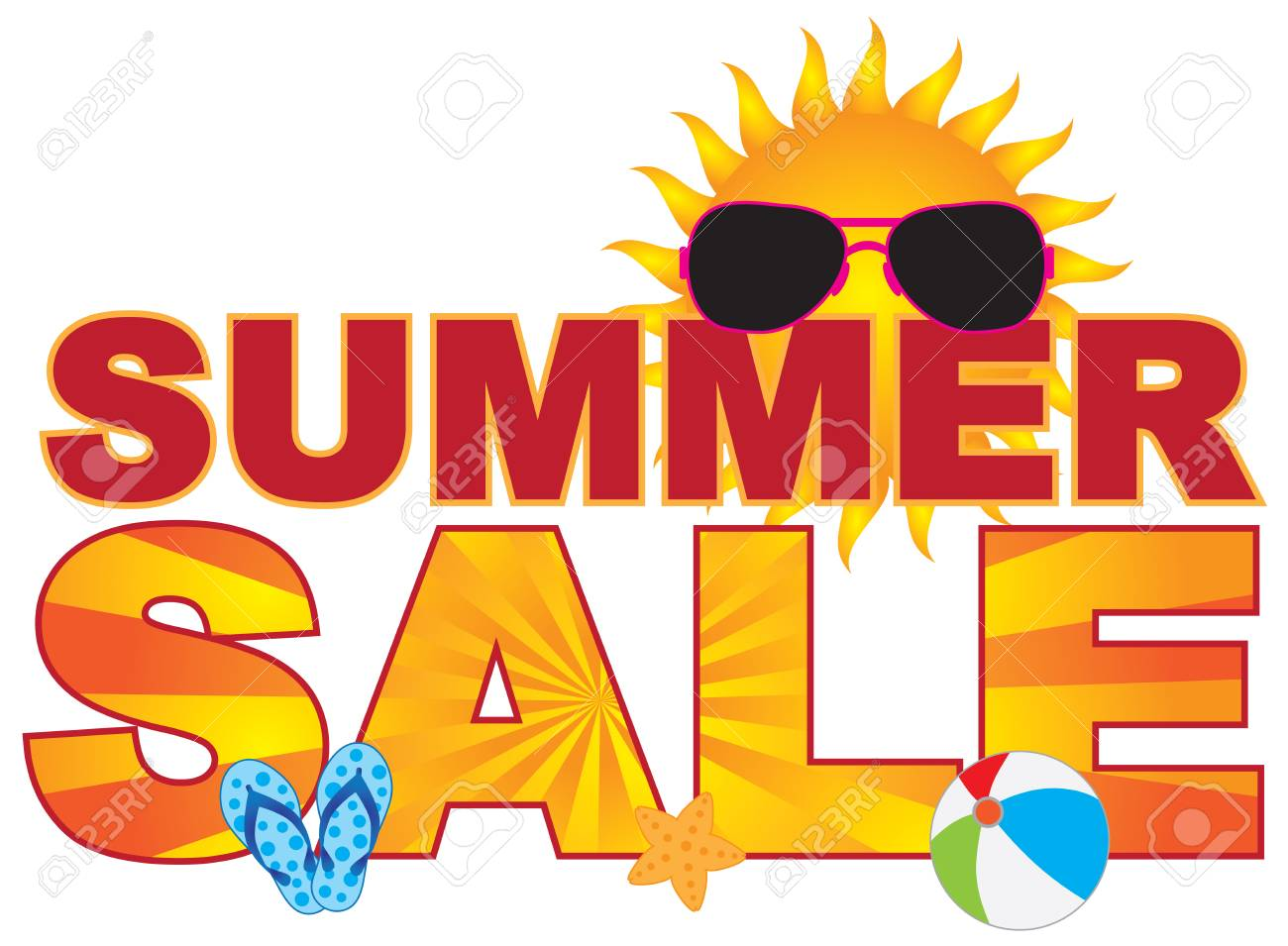 d6cf647095fff Summer Sale retail store sign banner with sunglasses flip-flop beach ball  sun illustration Stock