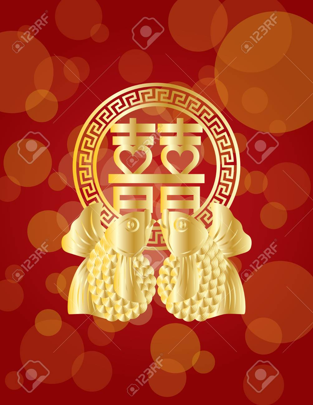 Double happiness gold koi fish chinese wedding symbol text on double happiness gold koi fish chinese wedding symbol text on red background illustration stock vector buycottarizona Gallery