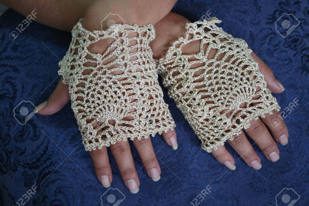Fancy Crochet Fingerless Gloves Stock Photo, Picture And Royalty ...