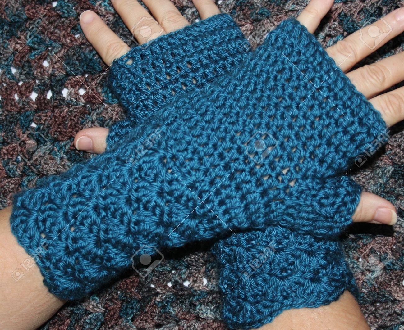 Deep Teal Blue Hand Crochet Fingerless Mittens Gloves Stock Photo