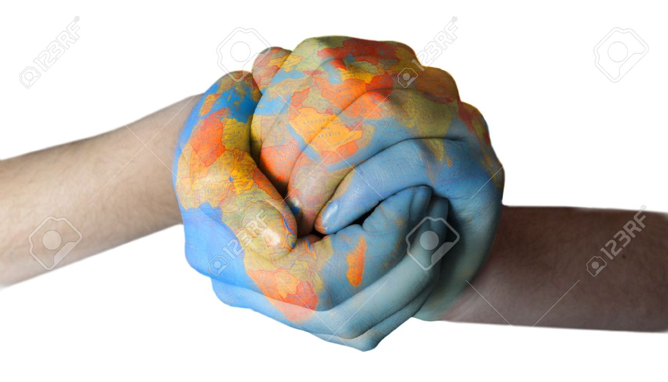 globe paintent od hands Stock Photo - 11373816