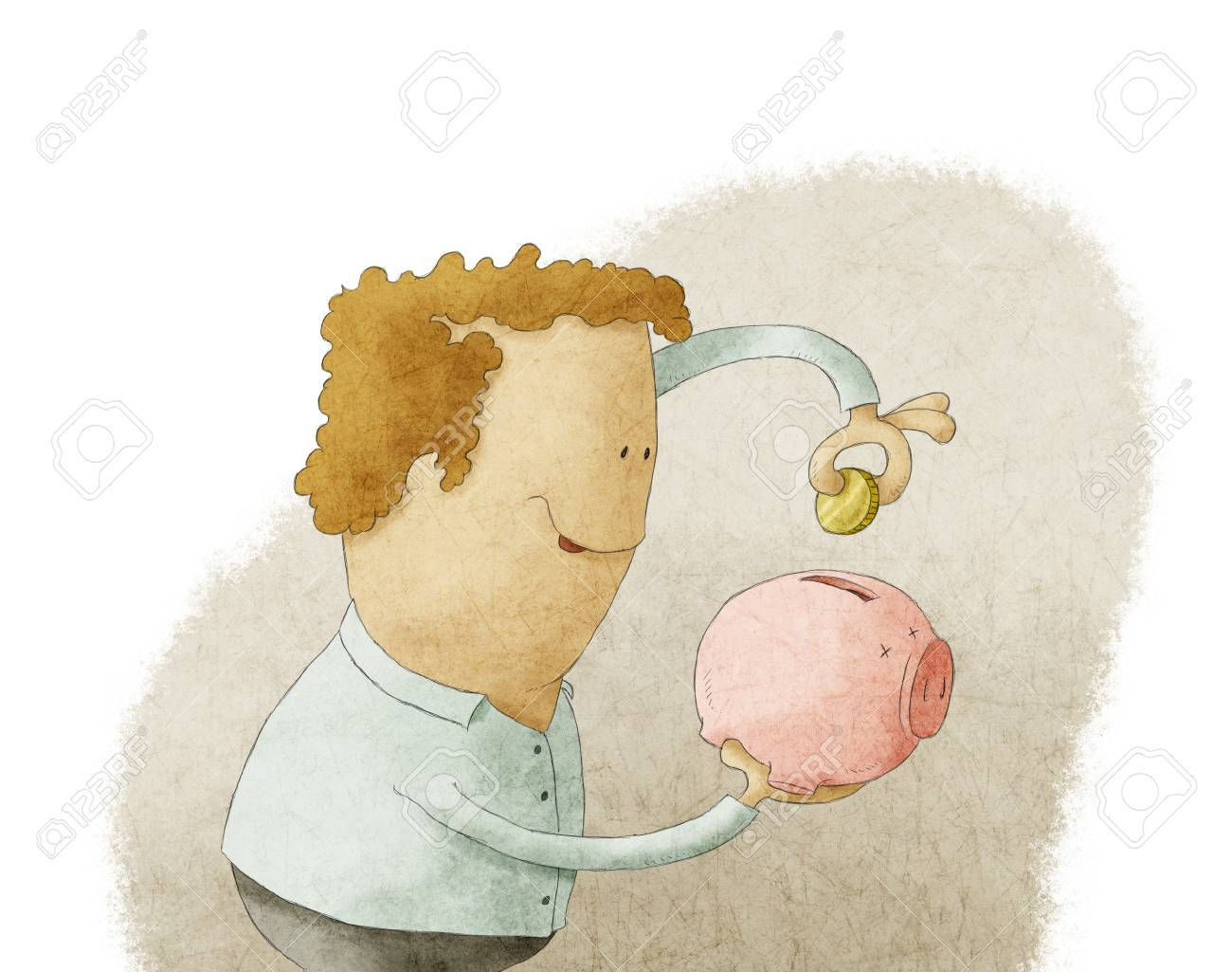 Young man putting coin into a piggy bank Stock Photo - 18852836