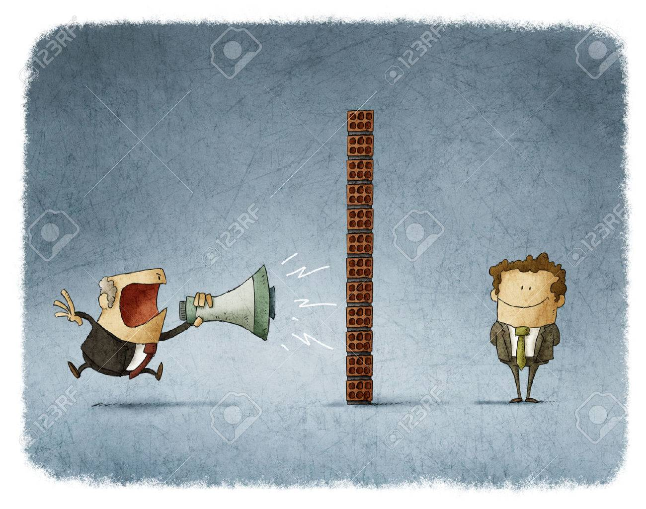 boss shouting with a megaphone to an employee who is behind a brick wall and does not get any sound Stock Photo - 54968290