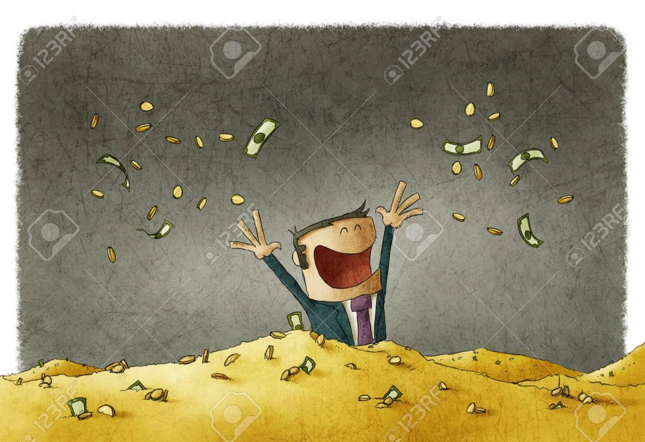 man celebrating his wealth - 54968295