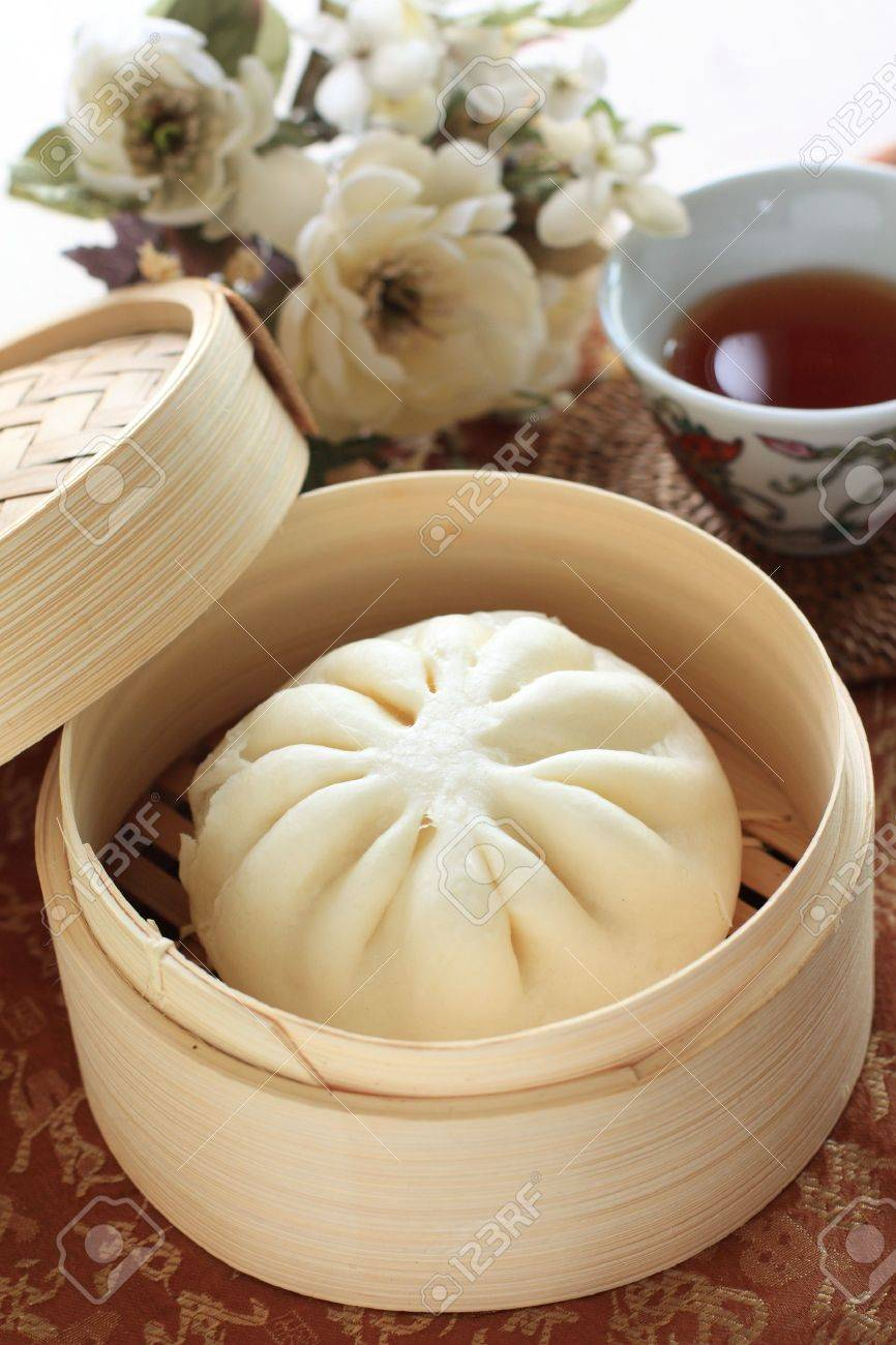 chinese dimsum steamed bun in bamboo steamer stock photo picture