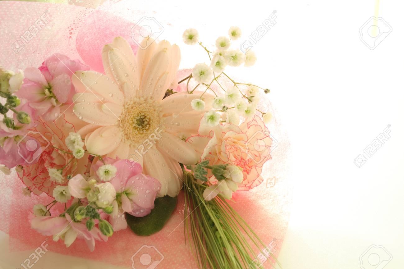 Elegant Gerbera And Babies Breath Flower Bouquet Stock Photo